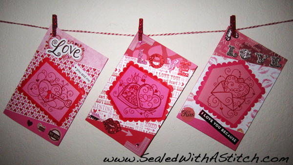 Valentine's Cards Hanging From Clothesline