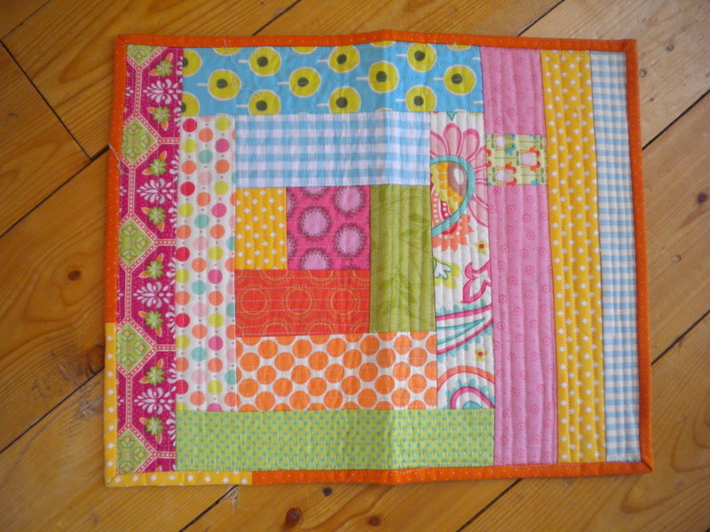 Bright, Quilted Mug Rug