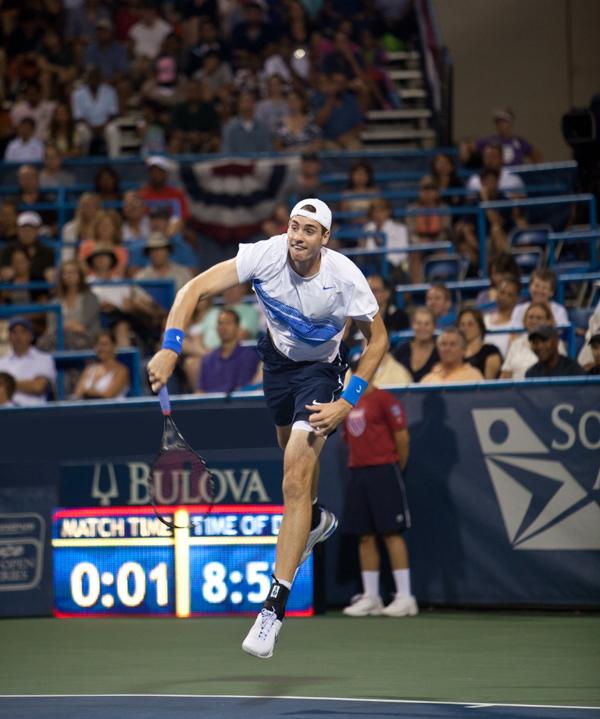 John Isner following through on a serve