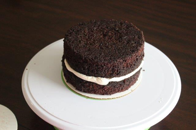 Two Layer Chocolate Cake with Buttercream Filling