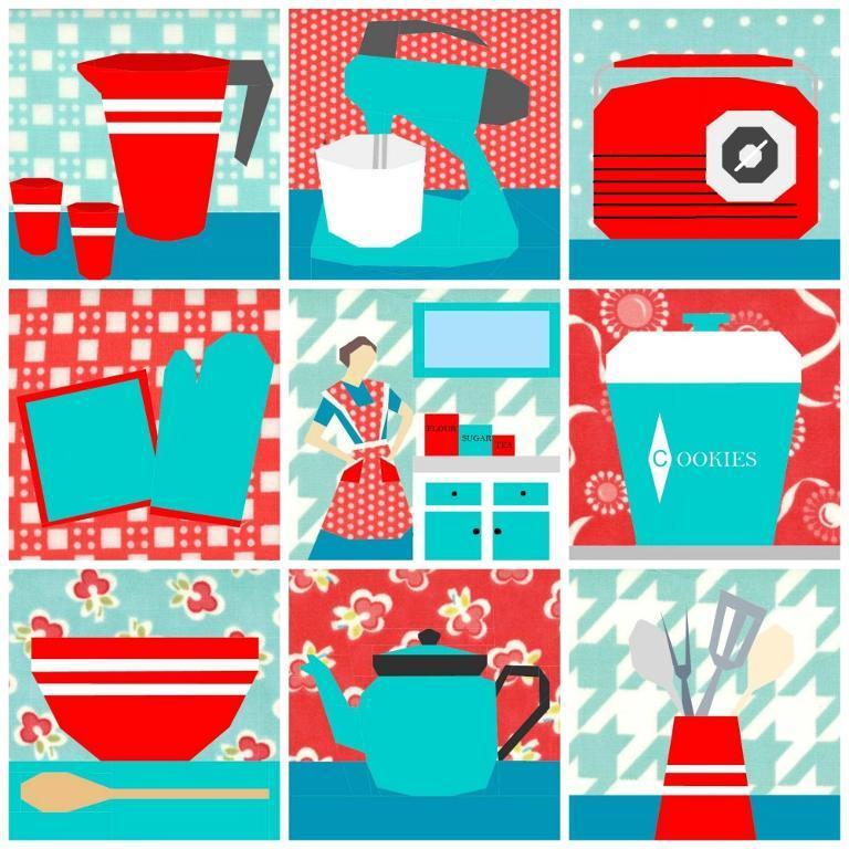 Kitchsy Paper-Pieced Kitchen Quilt - Pattern on Bluprint