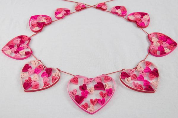 Valentine's Quilted Heart Garland