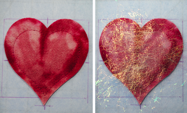 Spraying Heart with Adhesive