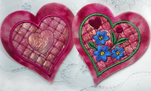 Shimmering Embroidered Hearts