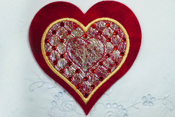 Completed Embroidered Heart
