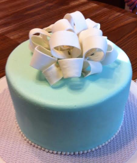 Blue Cake Topped with Fondant Bow