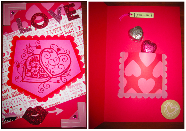 Adding Stickers and Pocket to Valentine's Card