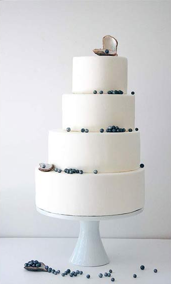 White Tiered Wedding Cake with Blue Pearls