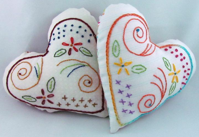 Hand Embroidered Hearts - Pattern on Bluprint
