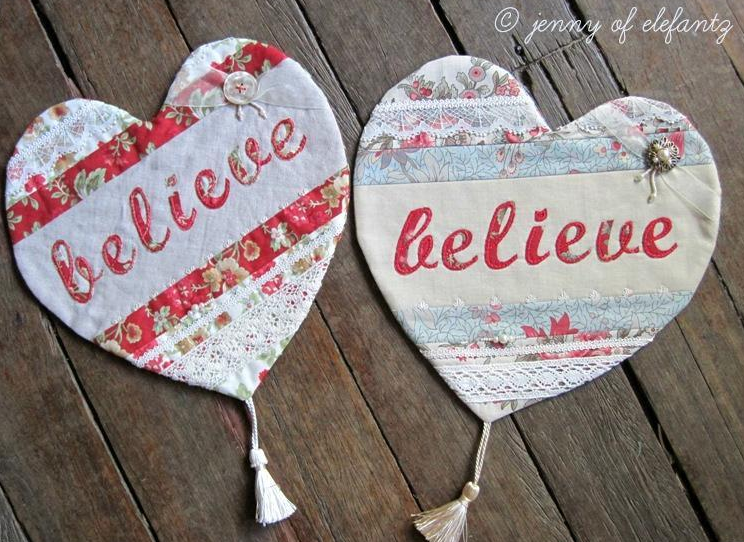 Embroidered Hearts - Free Embroidery Pattern