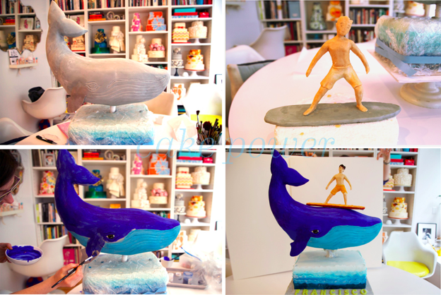 Painted Whale Cake -- Before and After Painting