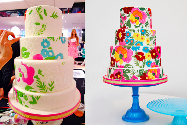 Lilly Pulitzer Inspired Painted Cake