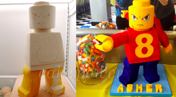 Lego Man Figure 8 Cake - Before & After