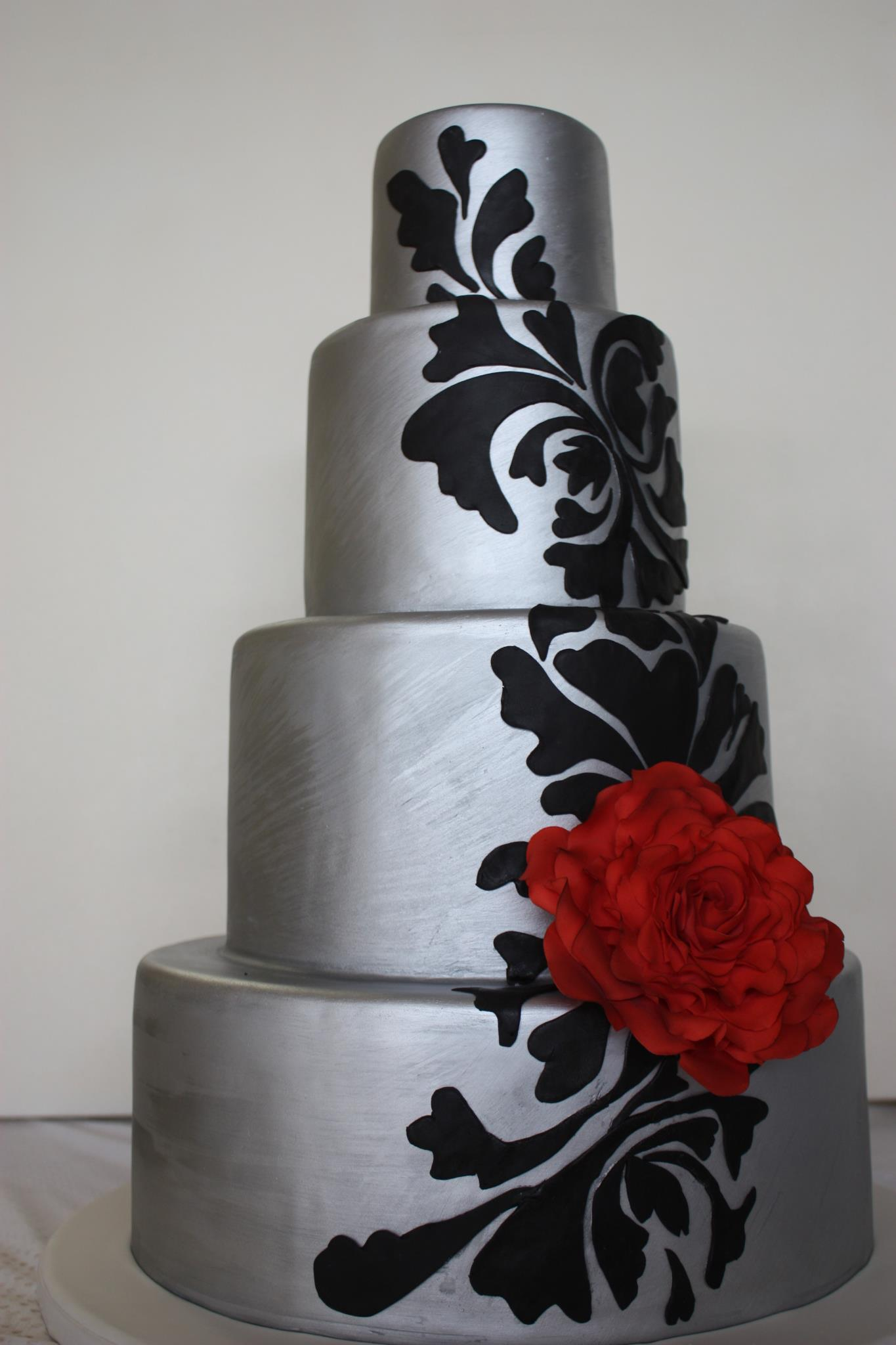 Silver Cake with Black Stenciling