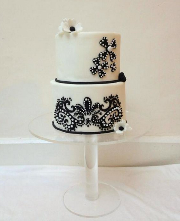 White Fondant Cake with Black Stenciled Flowers