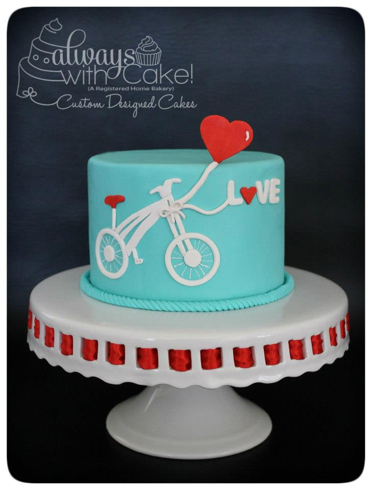 Teal Love Bicycle Cake