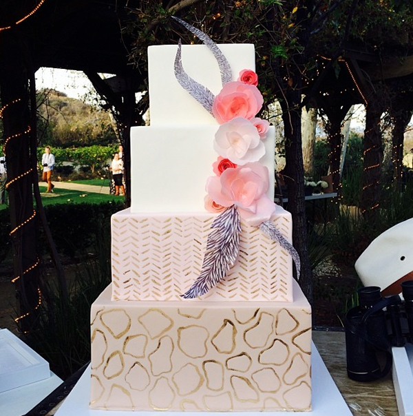 Tiered Square Cake with Rice Paper Flowers