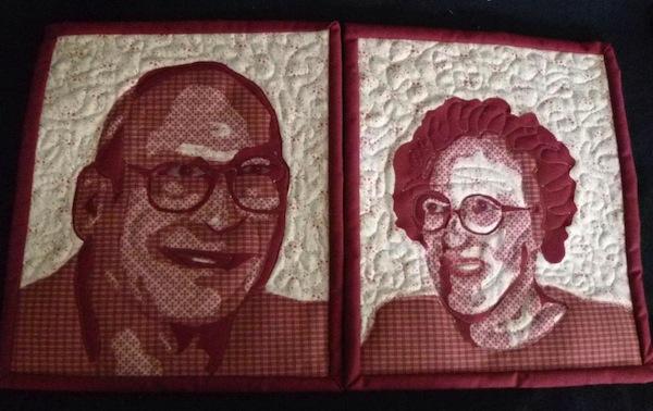 Color Block Portraits on Quilt