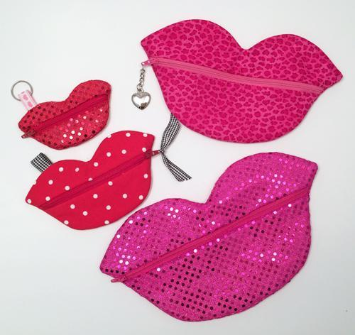 Embroidered Lips Zipper Pouches