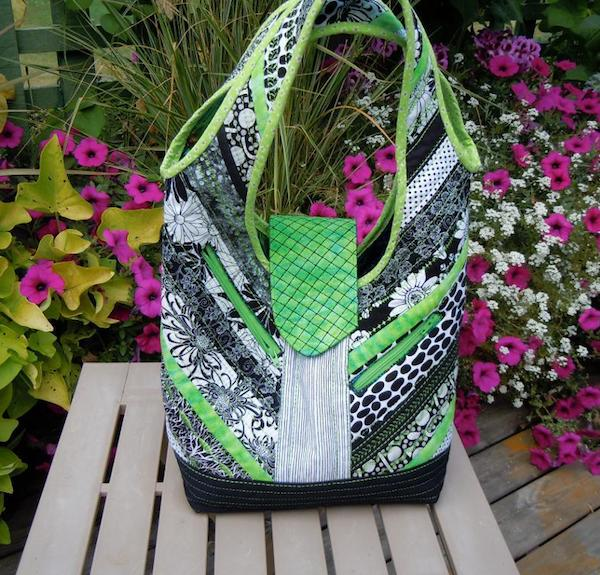 Black White and Green All Over Bag