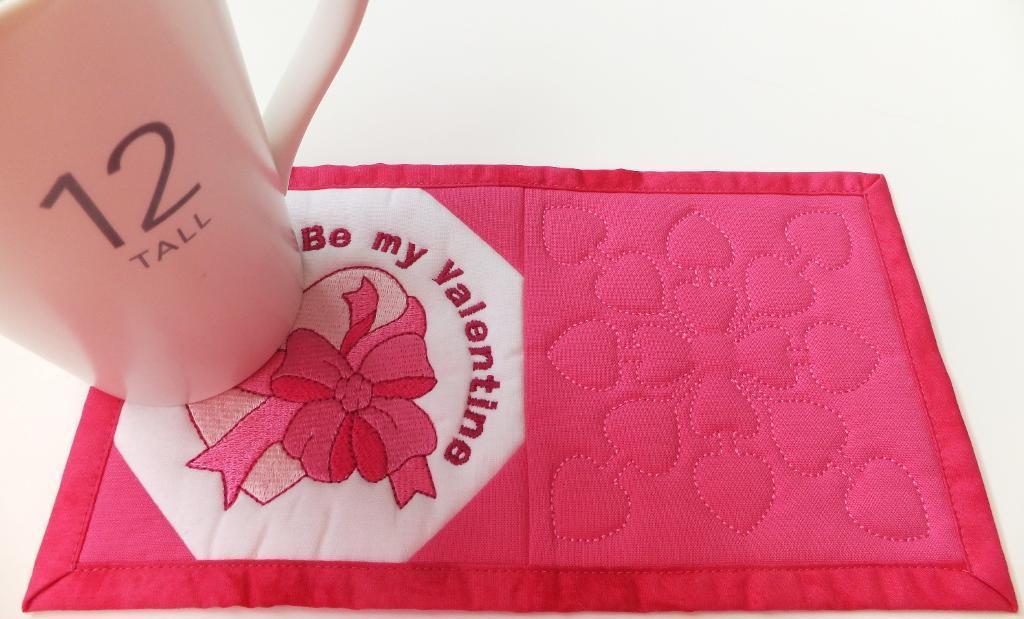 Embroidered Valentine's Mug Rug - Bluprint Member Pattern