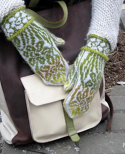 Knit daffodil mittens