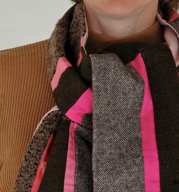 Pink and Grey Wool Scarf