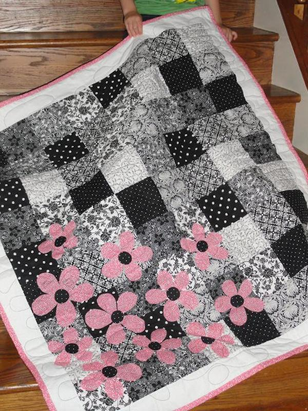 Black and White Quilt with Pink Flowers