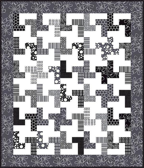 Black and White Geometric Quilt Design