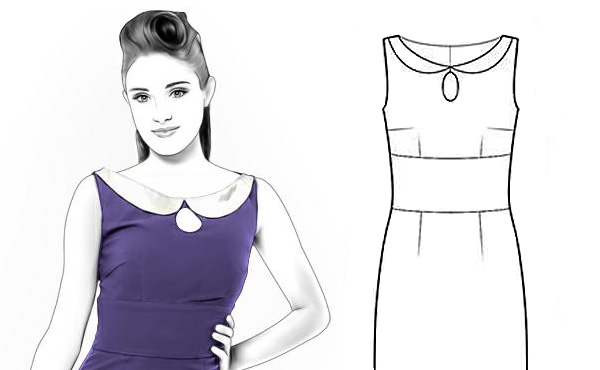 Illustrated Dress With Keyhole Neckline Pattern