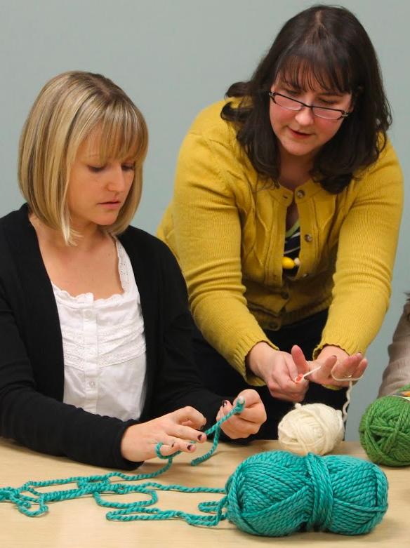 Linda and Rachel - Learning Crochet