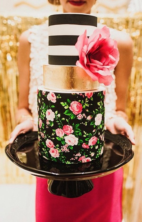 Tiered Cake with Striped top and Rice Paper Flower