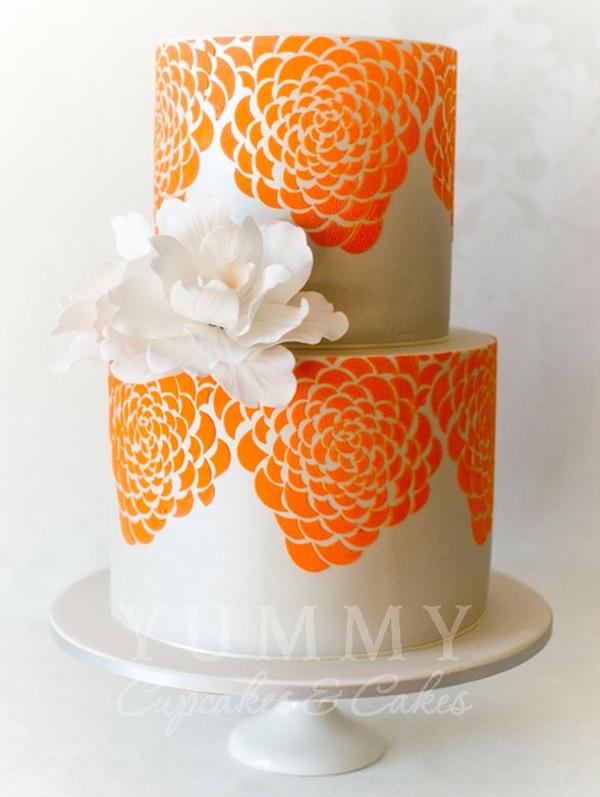 Orange Stenciled Cake Embellished with Peony Sugar Flower