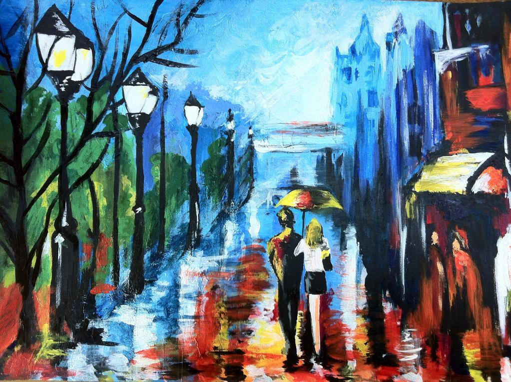 Bluprint Member Painting - Couple Strolling in Rain