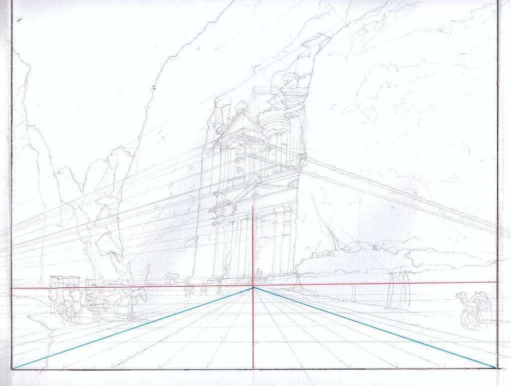 In-Progress Perspective Study of Petra in Jordon