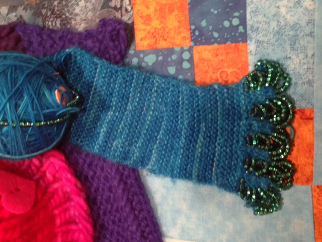 Knit Scarf with Beaded Embellishment