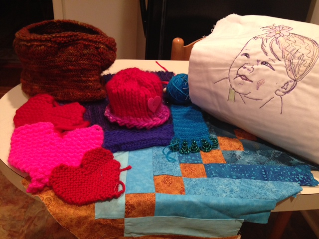 Various Craft Projects: Knitted Hearts, Knittted Hat, Quilt Block
