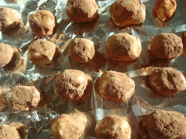 Rows of Homemade Irish Potato Candy