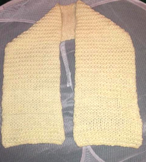 Off-White Knit Scarf: Blocked and Drying
