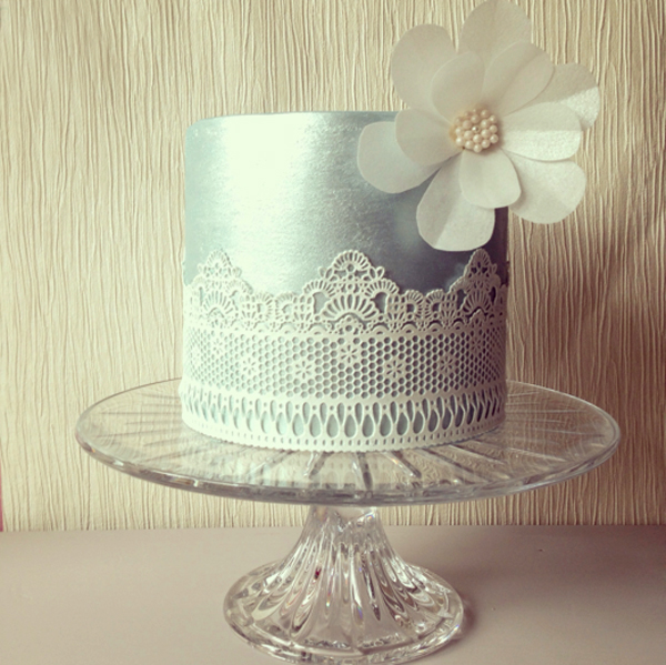 Silver Cake with Lace Wafer Paper - Craftsy Member Cake
