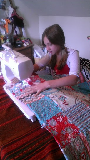 11-Year-Old Quilter Sewing a Quilt