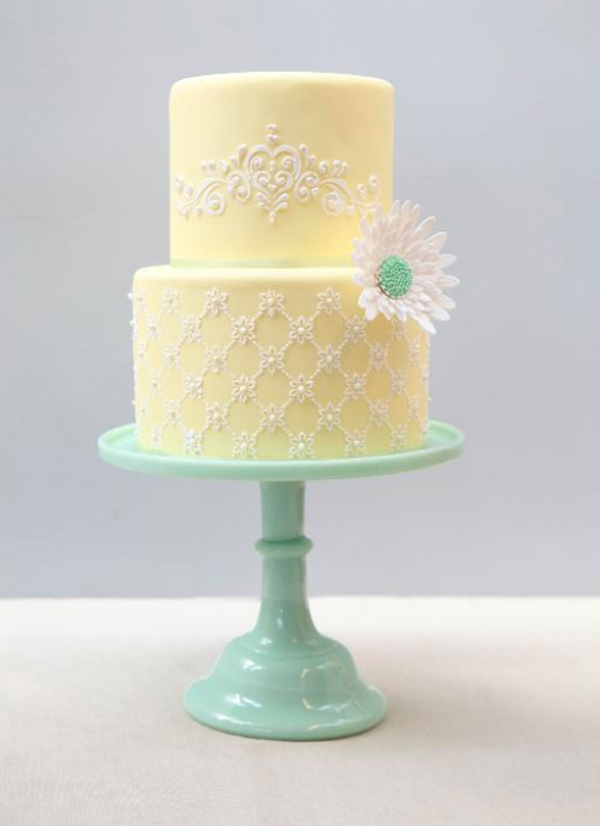 Two-Tier Pale Yellow Cake with Royal Icing Stenciling