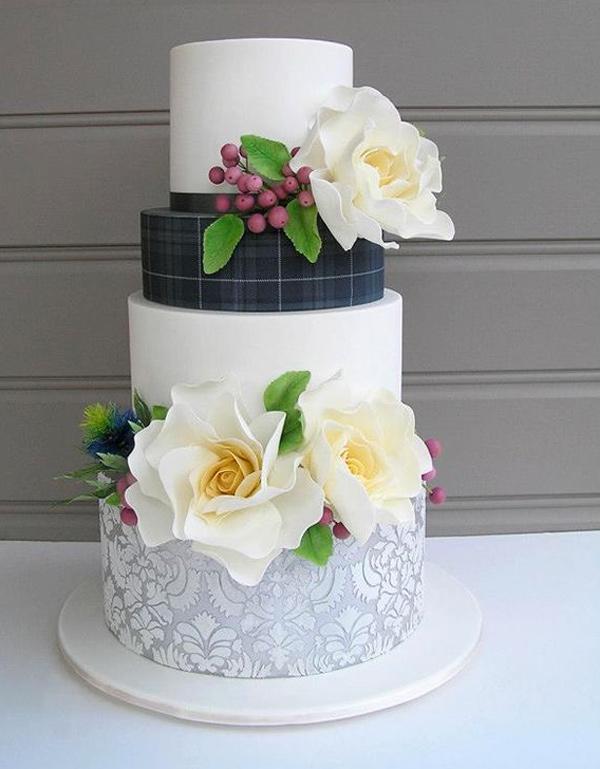 Tartan and Damask Wedding Cake