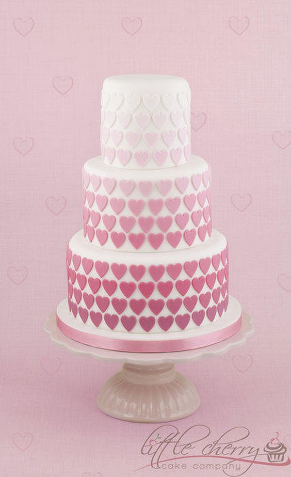 Tiered Cake with Fondant Hearts