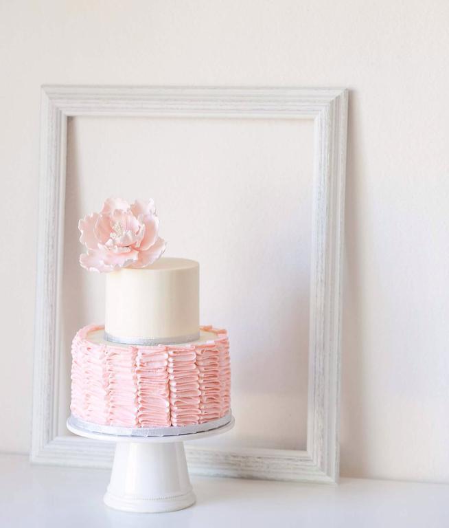 Pink Buttercream Ruffle Cake with Sugar Peony