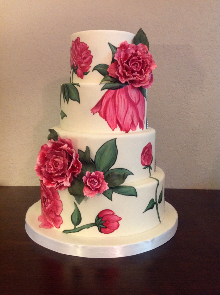 Hand-Painted Floral Wedding Cake
