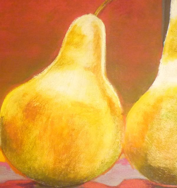 Using Pastels Over Acrylics: Still Life of Pear