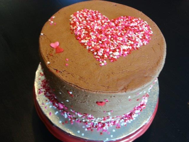 Cake with Sprinkle Heart Stenciled On