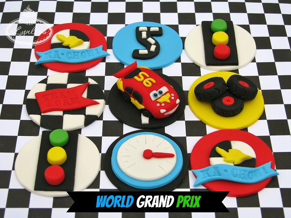 Race Car Themed Fondant Cupcake Toppers