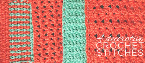 Four simple decorative crochet stitch patterns